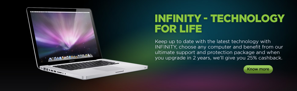 Keep up to date with the latest technology with Infinity, choose any computer and benefit package from our ultimate support and protection package